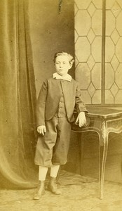 Young Boy Paris Early Photographic Studio Maujean Old CDV Photo 1870