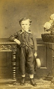 Young Boy 68000 Strasbourg Early Photographic Studio Gerschel Old CDV Photo 1870