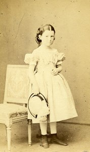 Young Girl Paris Early Photographic Studio Bayard & Bertall Old CDV Photo 1870