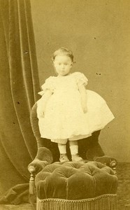 Young Girl Paris Early Photographic Studio Maujean Old CDV Photo 1870