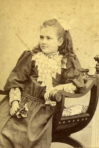 Young Girl Portrait Fashion Paris Old Photo CDV Professeur Stebbing 1890