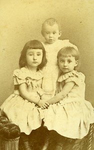 Childrens Portrait Fashion 27000 Evreux Old Photo CDV Berthaud 1890
