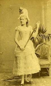 Woman Fashion Harlequin Clothes 80000 Amiens Old Photo CDV Herbert 1890
