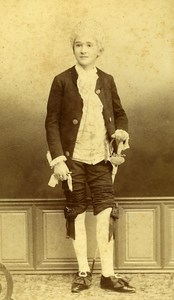 Boy Carnival Costume Portrait 27000 Evreux Old Photo CDV Berthaud ca 1890