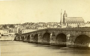 Loire River Bridge & Cathedral 41000 Blois France Old CDV Photo 1870