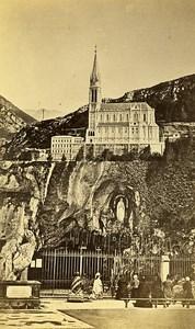 Pilgrimage Grotto 65100 Lourdes France Old CDV Viron Photo 1870