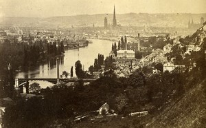 Panorama 76000 Rouen France Old CDV Photo 1870
