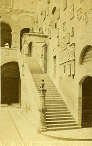 Italy Firenze Cortile dell Palazzo Old Photo CDV Brogi 1870