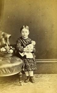 Youg Lady & Doll Fashion London United Kingdom Old CDV Reed Photo 1870