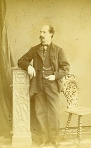 Man Fashion Torino Italy Old CDV Photo Le Lieure 1870