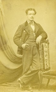 Man Fashion Torino Italy Old CDV Photo Schemboche 1870