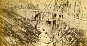 Devil Bridge at St Gothard Alps Old CDV Charnaux Photo 1870