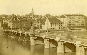 Wooden Bridge over the Rhine Basel Switzerland Old CDV Photo 1870
