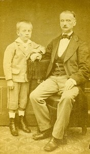 Father & Son Portrait Head Study Paris France Old CDV Mustiere Photo 1870
