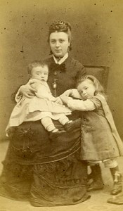 Mother & Children Portrait Fashion Toulouse France Old CDV Delon Photo 1870