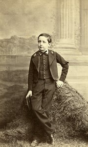 SchoolBoy Traditional Costume Paris France Old Photo CDV Thiebault 1870