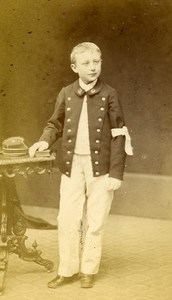 SchoolBoy Traditional Costume 03200 Moulins France Old Photo CDV Julien 1870
