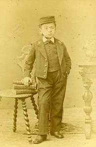 SchoolBoy Traditional Costume Paris France Old Photo CDV Chalot 1870