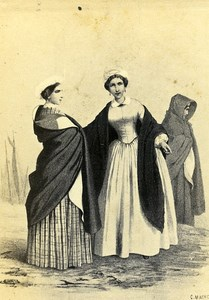 Traditional Regional Clothing Fashion Granville France old CDV Photo Morier 1870