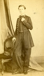 Young Man Second Empire Clothes Brest France old CDV Bernier Photo 1870