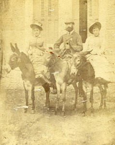 Donkey Promenade France old CDV Photo 1870