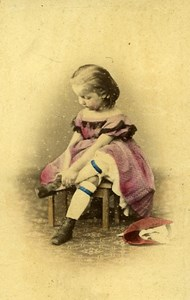Young Girl & her Toys Berlin Germany Old CDV Photo Linde ca 1870