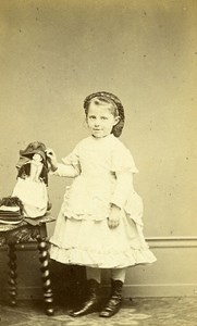 Young Girl Doll Toy Paris France Old CDV Photo Persus 1870