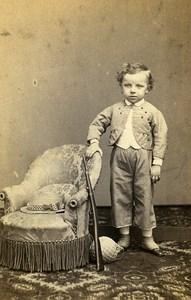 Young Boy Ball Gun Toy France Lyon Old CDV Photo Victoire 1870