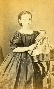 Young Girl Doll Toy France Beauvais Old CDV Photo Herbert 1870