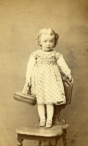 Young Girl Bag Toy France Nancy Old CDV Photo Perin 1870