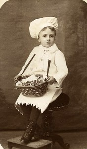 Young Boy Cook Game France Vernon Old CDV Photo Messier 1870
