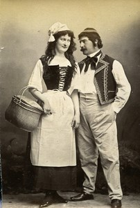 Humoristic Portrait Couple Meudon France Old Photo Delaporte 1875