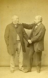 The Two Friends Group Portrait France Paris Old CDV Photo Robe 1860