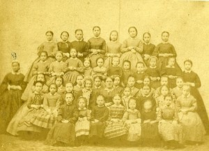 School Group Portrait France Old CDV Photo 1860