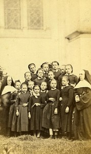 Religious School Group Portrait France Old CDV Photo 1860