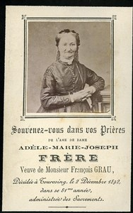 Holy card Death Frere Grau Family France Tourcoing Old Photo CDV 1892