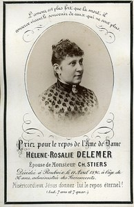 Holy card Death Delemer Stiers Family France Roubaix Old Photo CDV 1890
