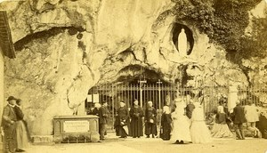65100 Lourdes Miraculous Grotto France Old Photo CDV Provost 1875