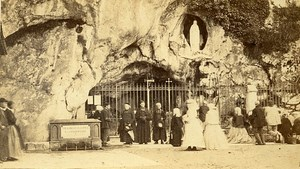 65100 Lourdes Miraculous Grotto France Old Photo CDV Provost 1865