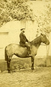 Rider Man & his Horse France Old Photo CDV 1870