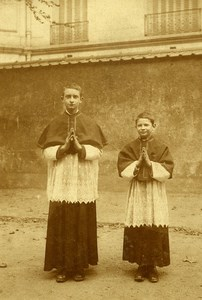The Two Communiants Religion Lille France Old Snapshot 1930