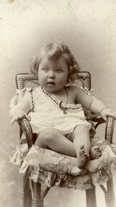 Baby Seated Boy Paris France Old CDV Miniature Chamberlin 1900
