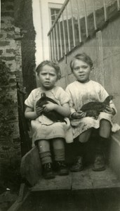 Two Children and Chicken in Wheelbarrow France Old Amateur Snapshot Photo 1946