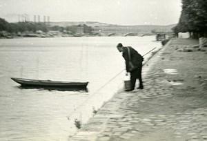 Paris Seine River Crayfish Fishing Old Amateur Snapshot Photo 1948