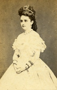 Peru Lima Portrait Woman Fashion Old CDV Photo Courret Hermanos c1860