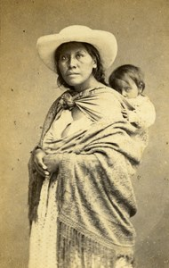 Peru Lima Portrait Study Mother & Child Old CDV Photo Courret Hermanos c1860