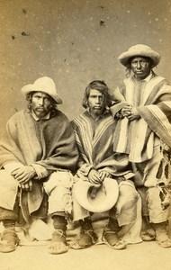 Peru Lima Portrait Study Peasants Old CDV Photo Courret Hermanos c1860