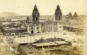 Peru Lima Cathedral Panorama Old CDV Photo Courret Hermanos c1860