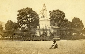 Peru Lima Christopher Columbus Statue Old CDV Photo Courret Hermanos c1860