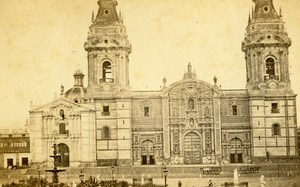 Peru Lima Cathedral Facade Old CDV Photo Courret Hermanos c1860